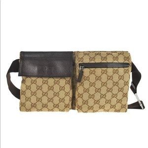 Authentic Gucci waist bag fanny pack brown canvas